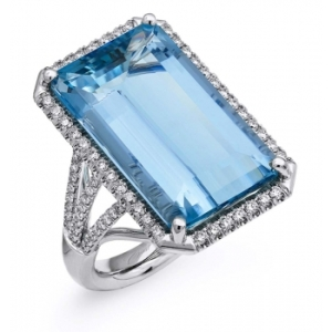 Coast Diamond Emerald Cut Aquamarine and Diamond Engagement Ring
