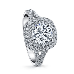 Coast Diamond Double Halo Platinum Engagement Ring