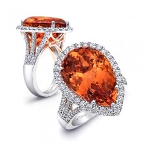 17.86 CT Imperial Topaz and Diamond Ring - Coast Diamond