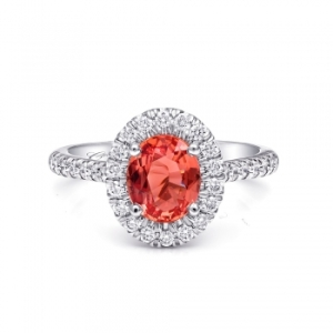A ravishing 1.54 carat padparadscha sapphire platinum and diamond ring signature-color