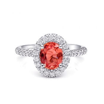 Coast Diamond 1.56 carat padparadscha sapphire platinum and diamond ring signature-color