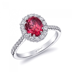 Coast Diamond Red Spinel and Diamind Engagement Ring 2892_0