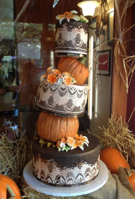 Halloween Pumpkin Stack Wedding Cake
