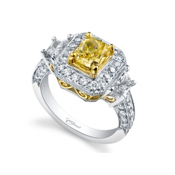 Coast Diamond 1.49 Radiant Yellow Diamond Engagement Ring