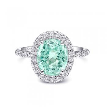 Coast Diamond 3.26 Carat Tourmaline Halo Engagement Ring