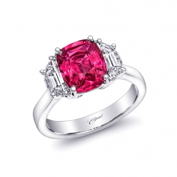 Coast Diamond 3.05 Carat Pink Sapphire and Diamond Ring with Moon Diamonds