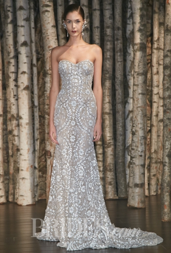Wedding Dress with Leather Cut-Outs and Pearls, Designer Naeem Khan