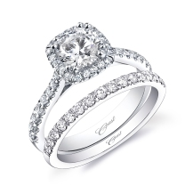 Coast Diamond cushion shaped halo wedding set LC5256 surprise diamond