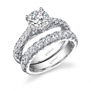 Coast Diamond Engagement Ring and Matching Diamond Band, Ganem Jewelers