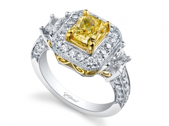 Coast Diamond Engagement Ring of the Week: 1.49 Carat Yellow Radiant Diamond with Trapezoid Side Stones