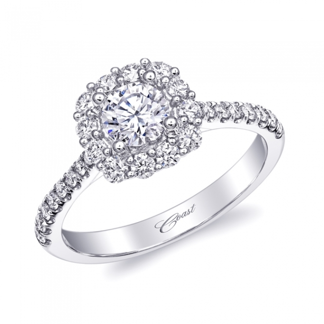 Coast Diamond Halo Engagement Ring at Ganem Jewelers
