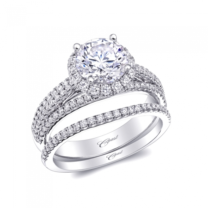 Coast Diamond Halo Engagement and Wedding Ring Set