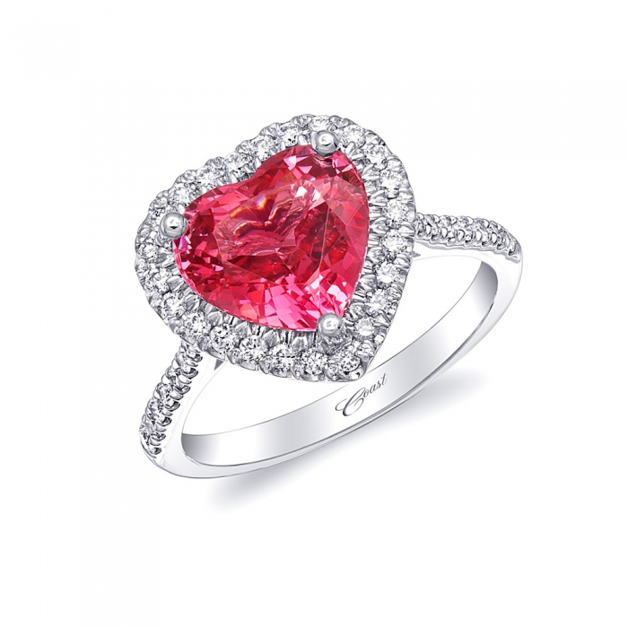 3.08 Carat Heart Shaped Pink Spinel Halo Platinum Engagement Ring