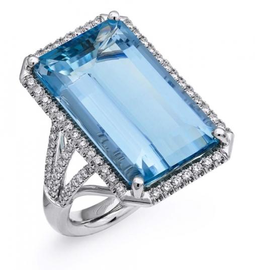 Coast Diamond 17-Carat Emerald Cut Aquamarine & Diamond Engagement Ring