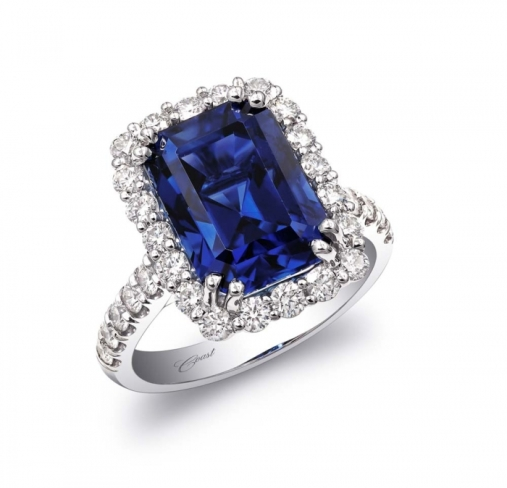 Coast Diamond 7.89-Carat Emerald Cut Blue Sapphire and Diamond Engagement Ring