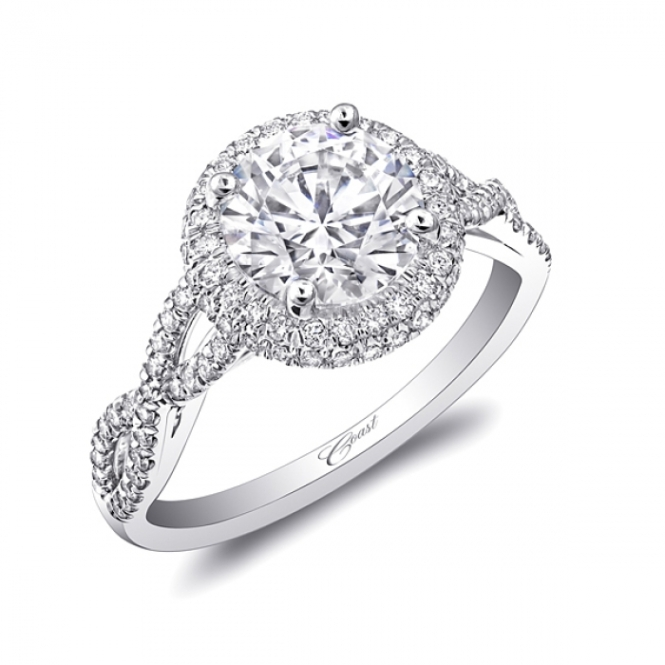 Coast Diamond double Halo Engagement Ring - LC5438- twisted shank