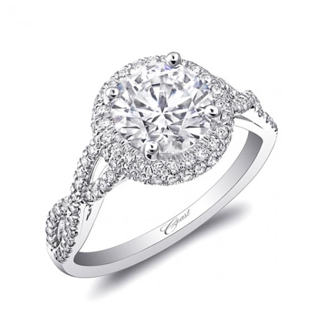Coast Diamond double Halo Engagement Ring - LC5438- twisted shank