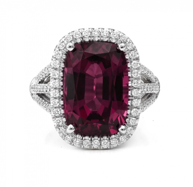 Garnet and Diamond engagement ring