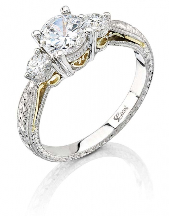 Coast Diamond Platinum Hand-Engraved Three-Stone Engagement Ring