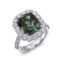 Coast Diamond 8.29 Green Alexandrite and Platinum Custom Engagement Ring, Valued at $249,200