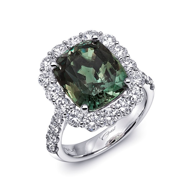 Coast Diamond 8.29 Green Alexandrite and Platinum Engagement Ring, Valued at $249,200