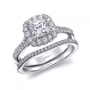 Coast Diamond halo engagement ring (LC10141) princess cut center stone