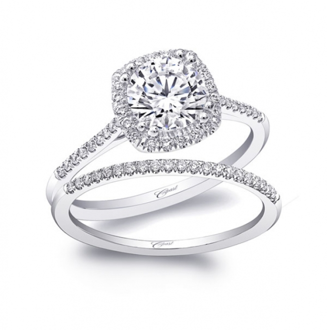 Coast Diamond Halo Ring with Cushion Cut Center Diamond