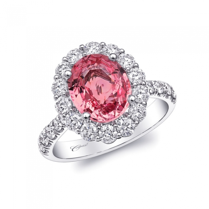Coast Diamond Rose Color  2.80CT Padparadscha Sapphire Engagement Ring
