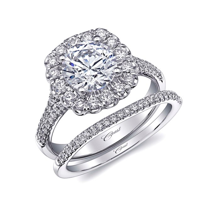 Coast Diamond Halo Engagement Ring and Wedding Band