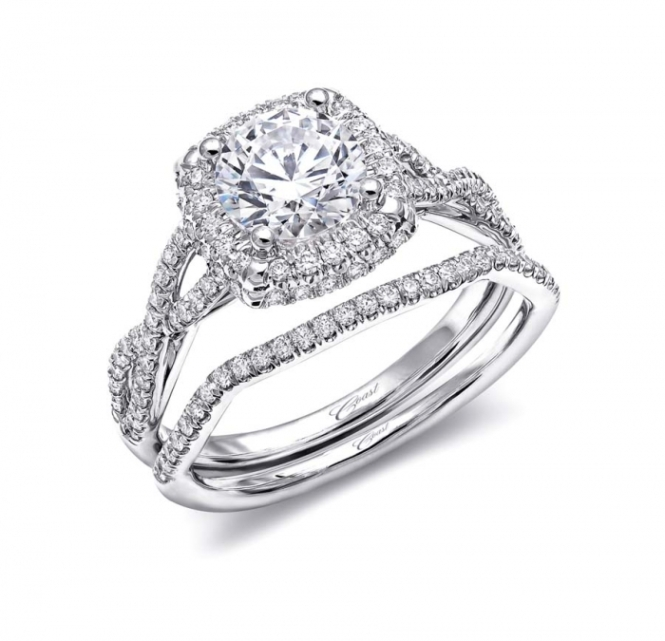 Coast Diamond Cushion-Cut Halo Engagement Ring (LC5457)