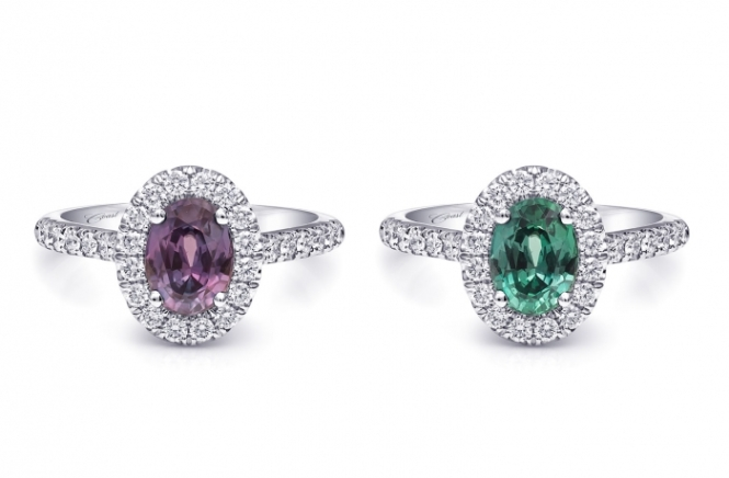 Coast Diamond Purple and Green Alexandrite Halo Rings