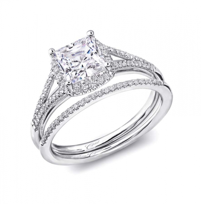 Coast Diamond Princess Cut Halo Engagement Ring: Classic Rock Jewelry Store in San Jose