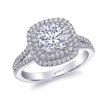 Coast Diamond Double Halo Engagement Ring with 1.25 CT Center Diamond (LC10130) diamond split shank