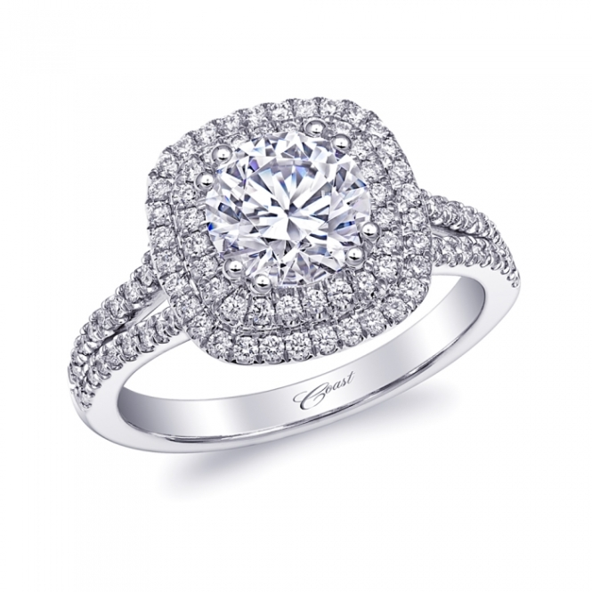 Coast Diamond Double Halo Engagement Ring with 1.25 Center Diamond (LC10130)