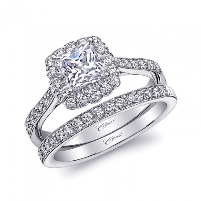 Occasions Fine Jewelry: Coast Diamond Halo Engagement Ring and Matching Band (LC10144)