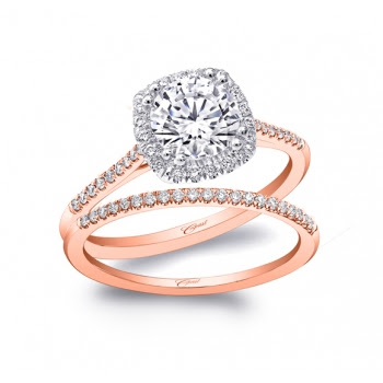 Coast Diamond rose gold cushion shaped halo engagement ring LC5410RG Engagement 101's Wedding Set of the Year 2015