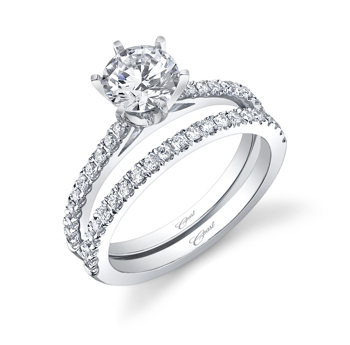 Coast Diamond classic round 6 prong engagement ring LC5250 with matching wedding band WC5250