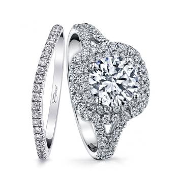Coast Diamond double halo engagement ring LC10021 matching wedding band WC10021