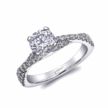 Diamond Cutters: Coast Diamond 1CT round center stone engagement ring (LC10291) with a twisted diamond shank.