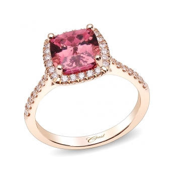 Color Collection Halo Engagement Ring with Pink Tourmaline Center Stone (LCK10217-PT)