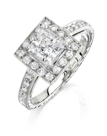 Coast Diamond Hand-Engraved Collection Halo Engagement Ring With Princess Cut Center Stone (LP2318)