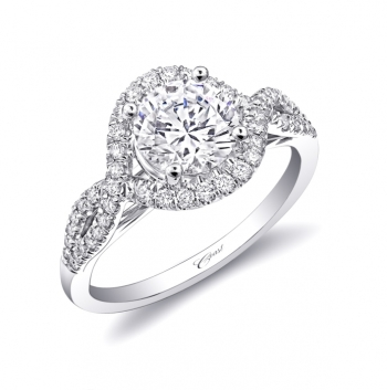 LC5449 Coast Diamond halo engagement ring with twisted shank