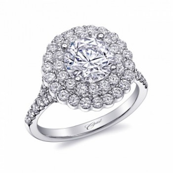 Coast Diamond floral-shaped Double Halo LC10137 1.5CT center stone