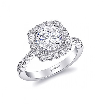 Coast Diamond cushion shaped halo engagement ring LC10056 2 ct round diamond