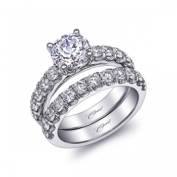 Coast Diamond 1.5 CT solitaire engagement ring LJ6033 matching diamond wedding band WJ6033