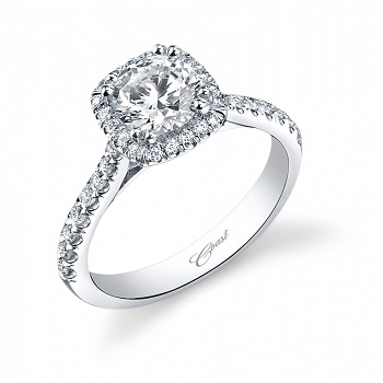 Coast Diamond cushion-shaped engagement ring LC5256 with diamond shoulders
