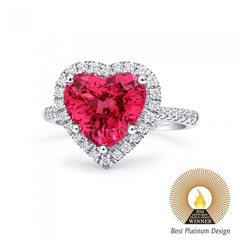 Coast Diamond heart shaped spinel ring platinum LSK10006-SPIN