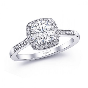 Coast Diamond cushion shaped halo engagement ring LC5391 pave diamonds milgrain edging