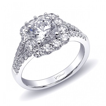 Coast Diamond split shank halo engagement ring LC6020