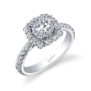 Diamond Cutters: Coast Diamond radiant cushion-shaped engagement ring (LC5257) with diamond shoulders.